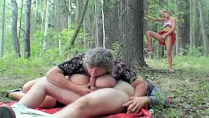 Granddaughter caught fucking her grandparents in the forest and joins