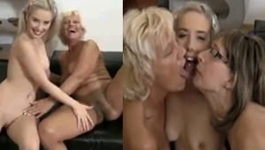Family orgy at home with grandmother, mother and daughter