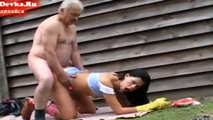 Fucking in the barn with grandpa