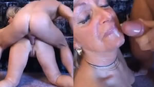 Anal sex with his mother on all fours on the floor