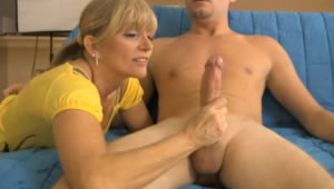 Mother is proud of the big cock of her son