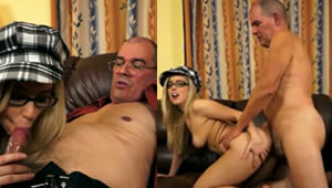 Fucking beautiful blond daughter in the room with Dad