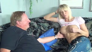 Blonde fucks with her dad in her menstrual period