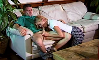 He was stunned to see how his stepdaughter sucks his cock