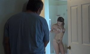Father spies his daughter while bathing