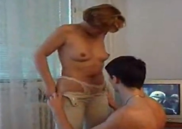 Sex in the living room with her horny mother