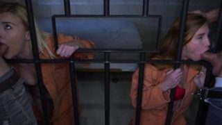 Two Fathers and Teen Daughters Fuck In Jail Cell